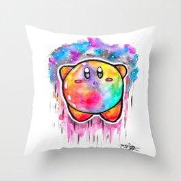 Cute Galaxy KIRBY - Watercolor Painting - Nintendo Throw Pillow
