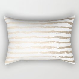 Simply Brushed Lines White Gold Sands on White Rectangular Pillow