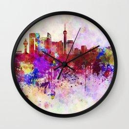Jeddah skyline in watercolor background Wall Clock