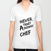chef V-neck T-shirts featuring Skinny chef by Andre Hauge