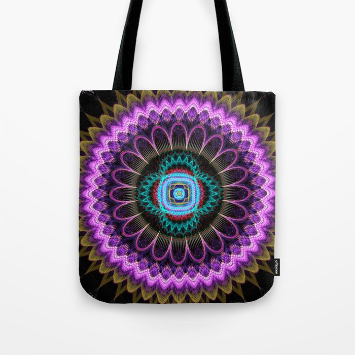 Groovy mandala with fantasy flower and tribal patterns Tote Bag