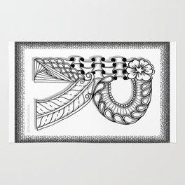 Zentangle R Monogram Alphabet Illustration Rug