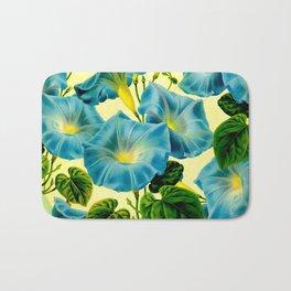 Blue Morning Glories Bath Mat