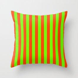 Super Bright Neon Orange and Green Vertical Beach Hut Stripes Throw Pillow