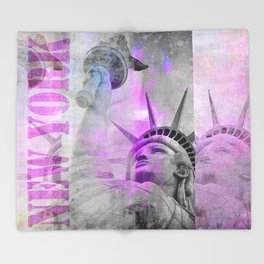 Statue of  Liberty pink mixed media art Throw Blanket
