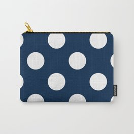 Large Polka Dots - White on Oxford Blue Carry-All Pouch