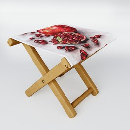 Red pomegranate watercolor art painting Folding Stool