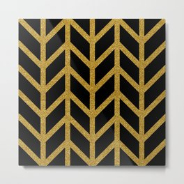Herringbone Chevron (Chunky Metallic Gold On Black) Metal Print