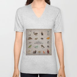 """""""Les animaux domestiques"""" Collage of pets on vintage background (French) Unisex V-Neck"""