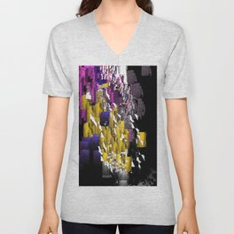Decorative Abstract in Purple, Blue, Black, Yellow, and White Unisex V-Neck