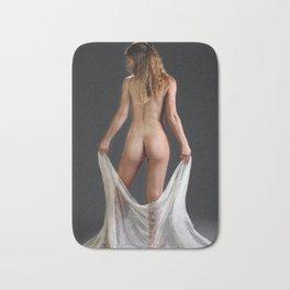 0760 Blond Art Model Lowers Sheer Fabric Drape Rear View Bath Mat