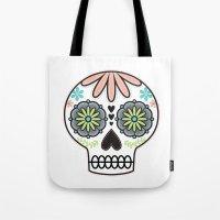 sugar skull Tote Bags featuring Sugar Skull by Liz Urso