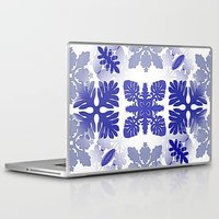 scandinavian Laptop & iPad Skins featuring Scandinavian Inspired Blue Snowflakes by CrypticFragments Design