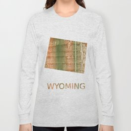 Wyoming map outline Brown green blurred watercolor texture Long Sleeve T-shirt