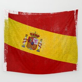 Spanish Distressed Halftone Denim Flag Wall Tapestry