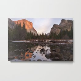 Yosemite - El Capitan & Merced River - Sunset in Winter Metal Print