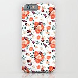 Peach | Coral Watercolor Bouquet Pattern iPhone Case