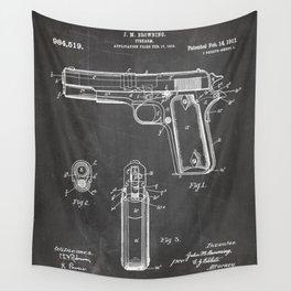 Colt Pistol Patent - Browning 1911 Colt Art - Black Chalkboard Wall Tapestry