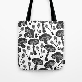 Mushrooms pattern in black & white Tote Bag