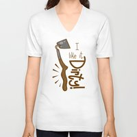 tool V-neck T-shirts featuring Naughty Farm Tool by Artistic Dyslexia