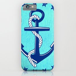 Nautical Anchor with Stars iPhone Case