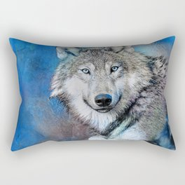 Blue Wolf Wildlife Mixed Media Art Rectangular Pillow