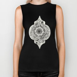 Messy Boho Floral in Charcoal and Cream  Biker Tank