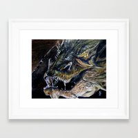 smaug Framed Art Prints featuring Smaug by Kait Evensen Art