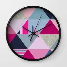 Pink, Blue and Silver Triangles Wall Clock