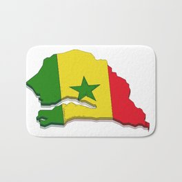 Senegal Map with Senegalese Flag Bath Mat