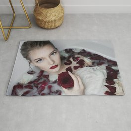 Roses and You; female blond in a bathtub with roses color photograph - photography - photographs wall decor Rug