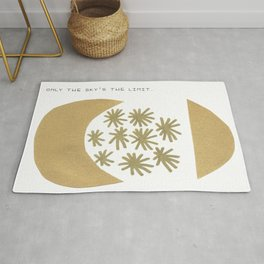 Only the sky is the limit, quote, gold paint, ink drawing Rug