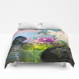 Colorful Buddha & Floral Collage Comforters