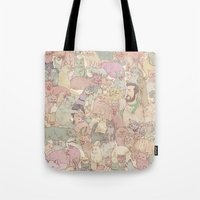 kozyndan Tote Bags featuring Self  Portrait with Kitties by kozyndan