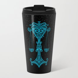 Blue Libra Zodiac Sign in the Stars Travel Mug