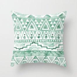 Watercolor Aztec Pattern Green Throw Pillow