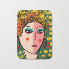 Green Portrait French Girl Art Bath Mat