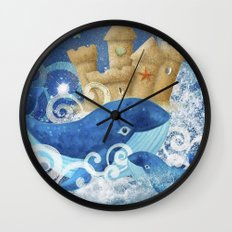 Sandcastle Waves Whales Wall Clock