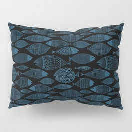 Blue Fish Black Pillow Sham