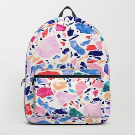 Terrazzo Crystals / Mineral Texture in Blue, Pink and Turquoise Backpack