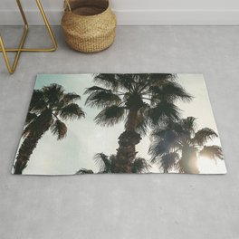 Palm Tree Art Print {1 of 3} | Teal Pastels Topical Beach Plant Nature Vacation Sun Vibes Artwork Rug