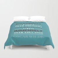 oscar wilde Duvet Covers featuring Oscar Wilde - poster by Katya Sarria