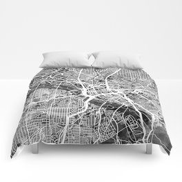 Dallas Texas City Map Comforters