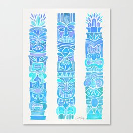 Tiki Totems – Turquoise Palette Canvas Print