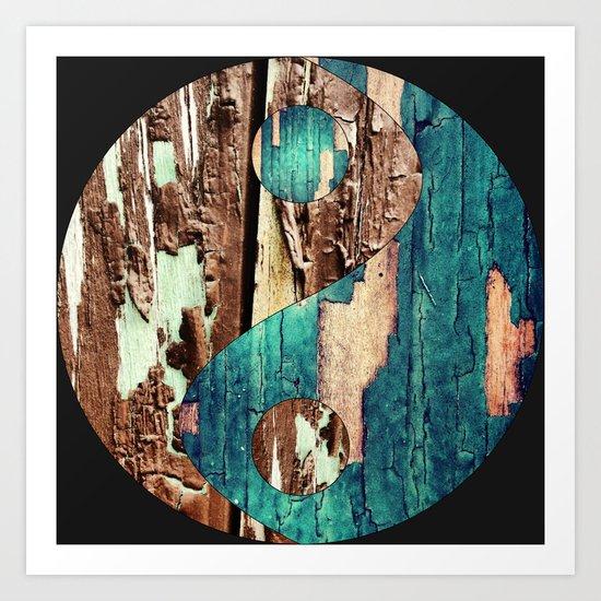 Wood Texture Yin Yang Art Print