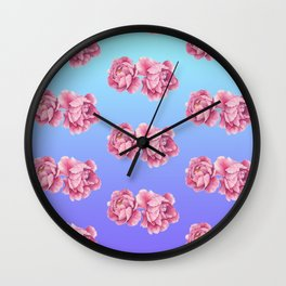 Watercolor Peony Fade Wall Clock