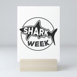 SHARK week / Black and White version Mini Art Print