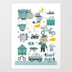 Thief night Art Print