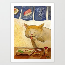 "Sushi Cat- ""All Done"" Art Print"