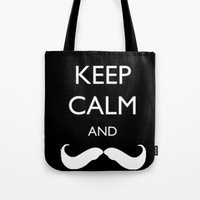 mustache Tote Bags featuring Mustache by marianastutz